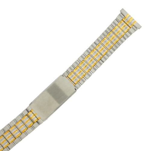 Watch Band Link Metal 2-Tone Straight Ends Mens 20mm - TSMET295