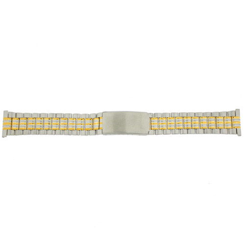 Watch Band Link Metal 2-Tone Straight Ends Mens 20mm - Main