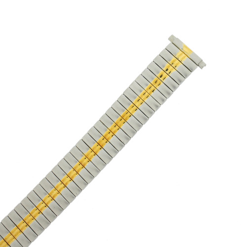 Watch Band Expansion Metal Stretch Two-Tone Silver-Gold - TSMET337