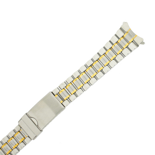 Metal Link Watch Band 2-Tone Curved Ends Mens 20mm - TSMET342