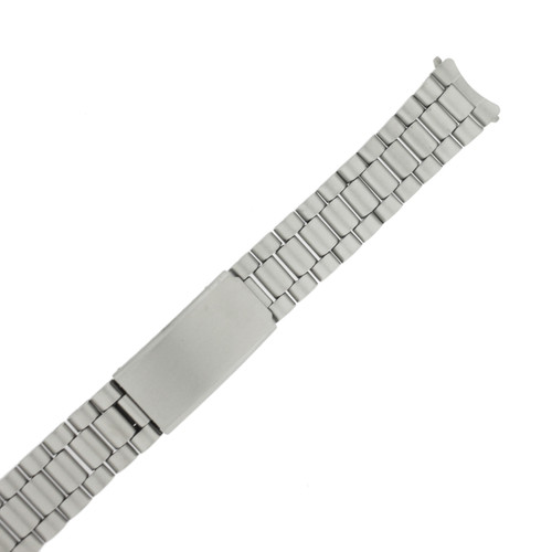Watch Band Metal Stainless Steel Matte Finish Curved 18mm
