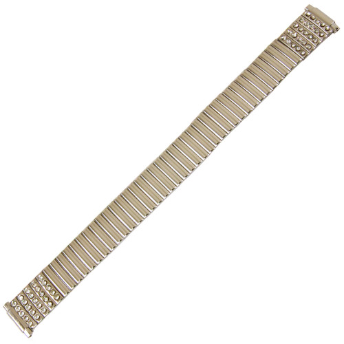 Watch Band Expansion Ladies Silver Color with Rhinestones in sizes 11mm to 14mm - Main
