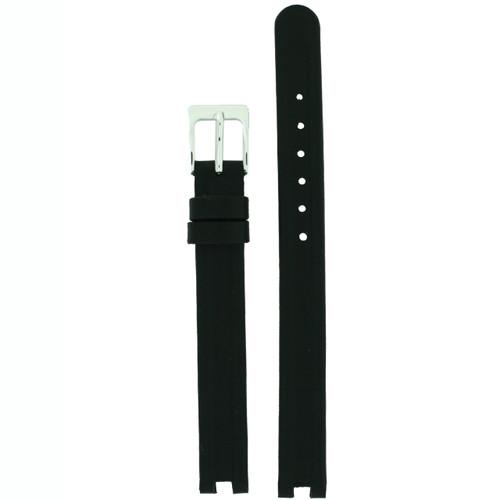 Watch Strap Genuine Leather Center Cut Rado Style Black Ladies 10mm SS Buckle - Main