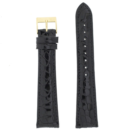 Genuine Crocodile Skin watch band in Black