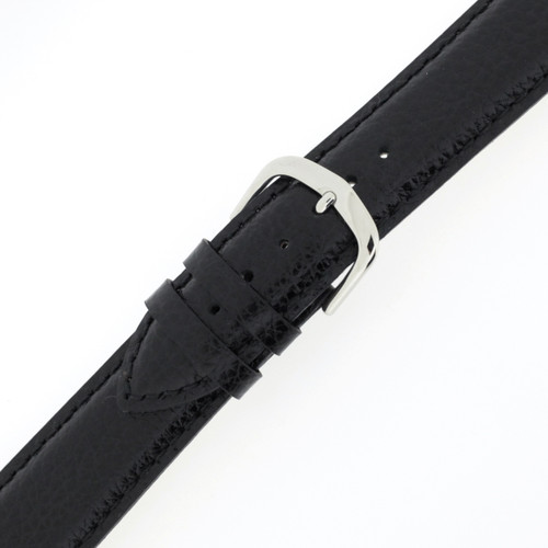 Buckled Leather Watch Band Mens Black LEA1433
