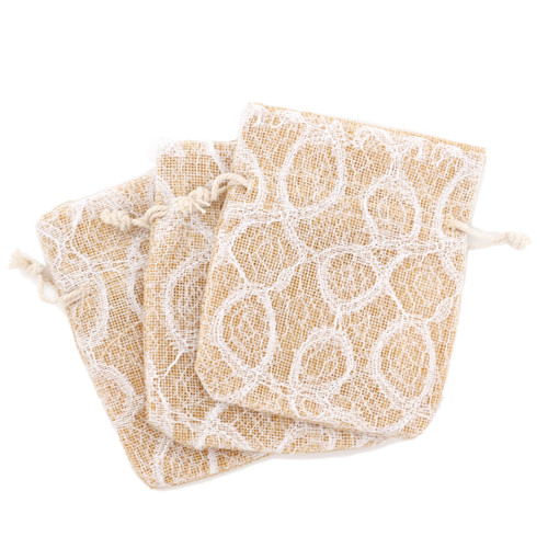 Burlap Beige Lace White Party Favor Gift Bags - 20 Pieces