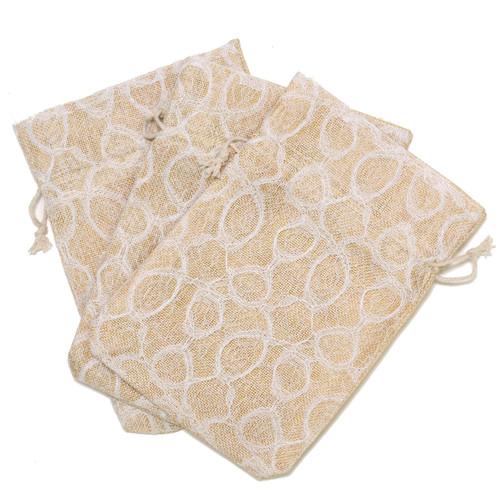Burlap Beige Lace White Party Favor Gift Bags - 20 Pieces M