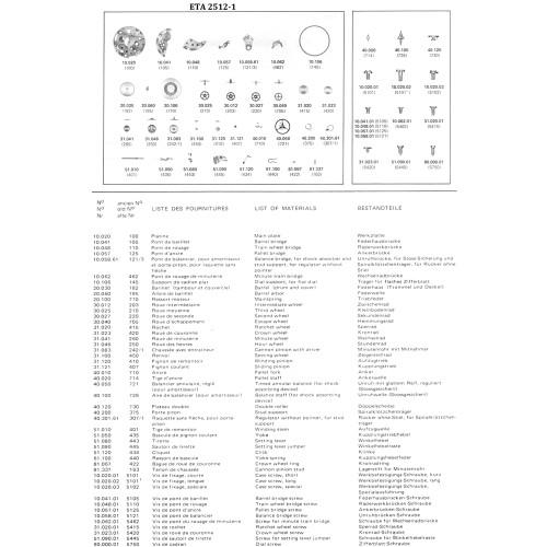 ETA 2512 parts