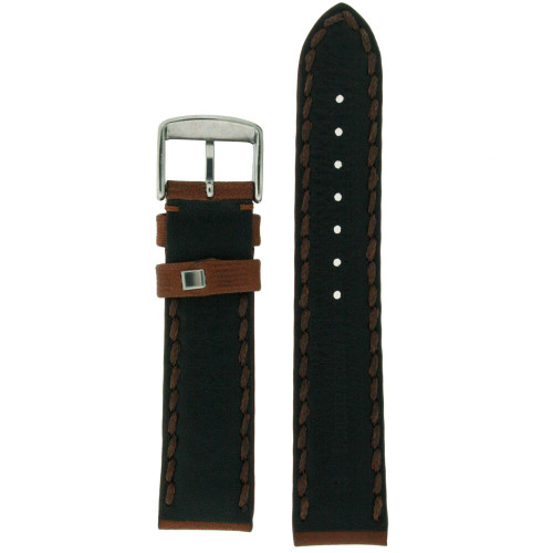 Leather Padded Men's Watch Band With Stitching in Brown