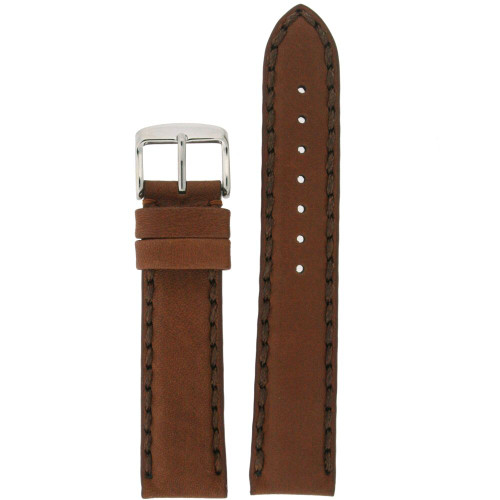 Brown Leather Watch Band with Stitching Mens - Top View
