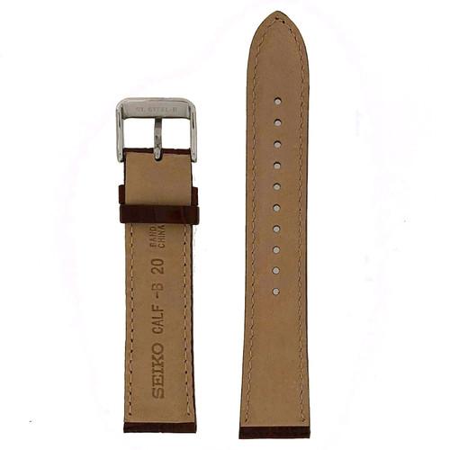 Seiko black leather band 20mm