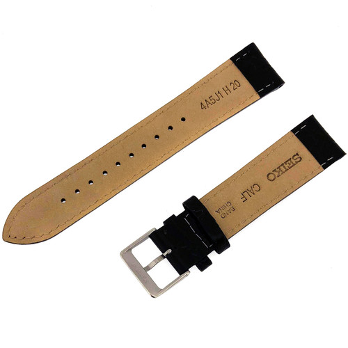 Seiko Leather Watch Band Black 20mm Strap Polished