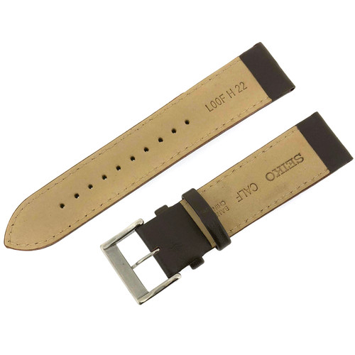 Seiko Leather Watch Band Leather Dark Brown 22mm
