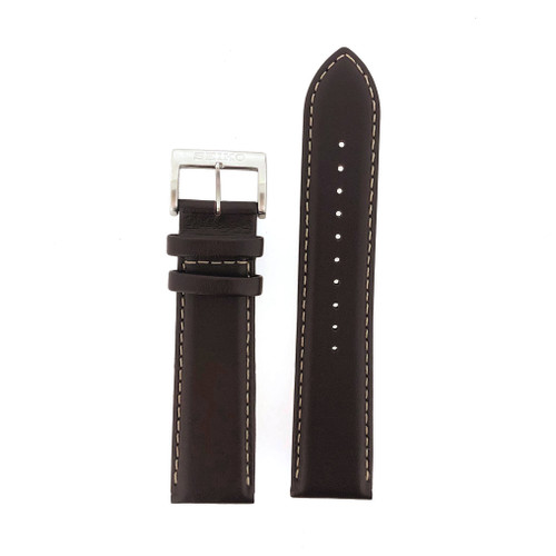 Seiko 22mm brown leather band