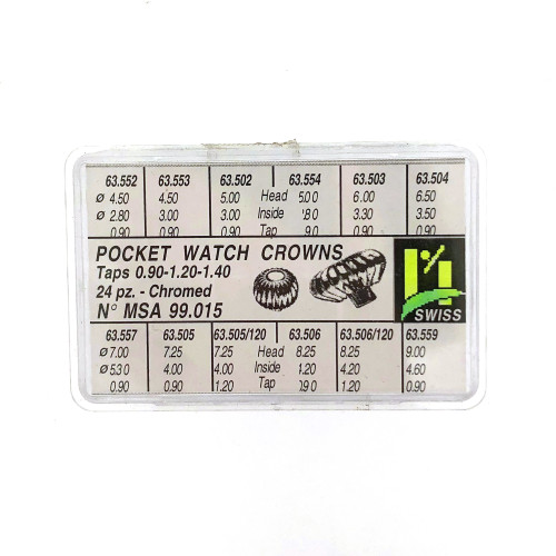 Horotec Pocket Watch Crown Assortment  Silver-tone– Regular Style Crowns 24 Pcs
