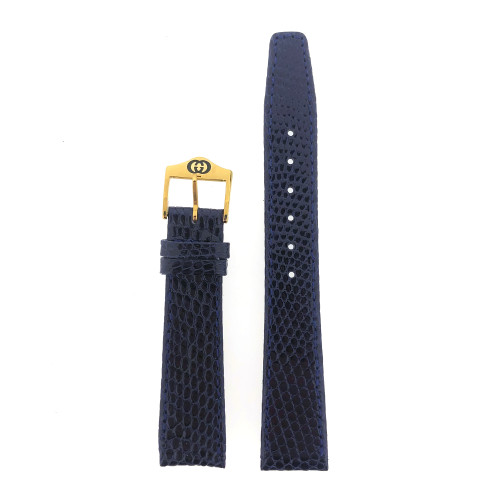 Gucci 17mm Navy Blue Watch Band Lizard 2200M 3000M 7600M