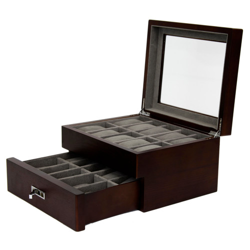 20 Watch Box Brown Ash Finish Large Compartments High Clearance Glass Window - Main