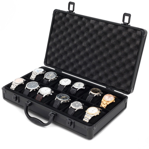 12 Watch Box Aluminum Case Storage With Handle - Black