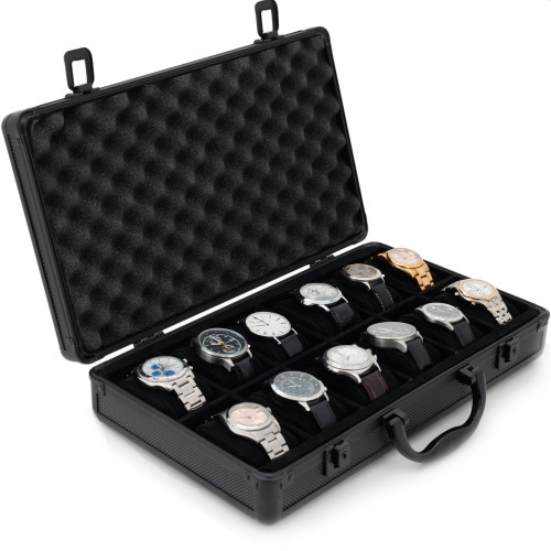 Aluminum Watch Briefcase | Mens Cases & Displays | Tech Swiss | Main Open