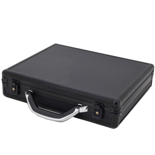 Watch Case for 18 Watches Collectors Brief Case Aluminum With Handle - Black