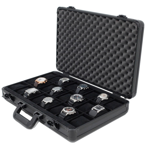 Watch Case Aluminum Brief Case Design for 24 Large Watches - Main