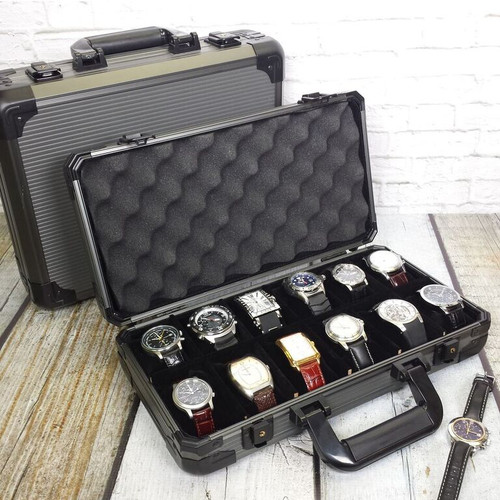 Aluminum Watch Briefcase | Mens Cases & Displays | Tech Swiss | Main Open