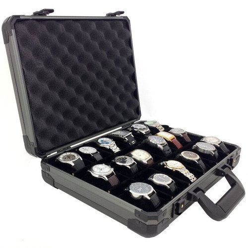 Watch Storage Case Aluminum Metal Briefcase for 18 Large Watches - Gunmetal