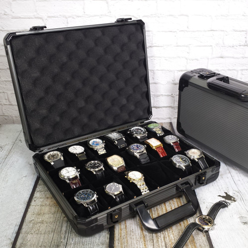 Watch Case for 18 Watches Collectors Brief Case Aluminum with Handle - Main