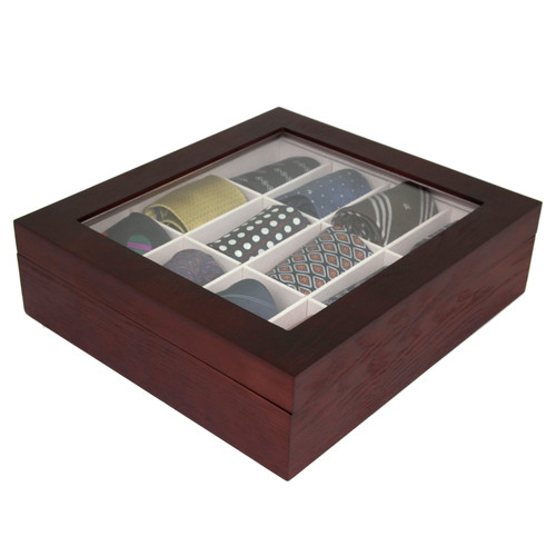 Tie Box Storage Handcrafted Wood 12 Compartment in Ash Brown