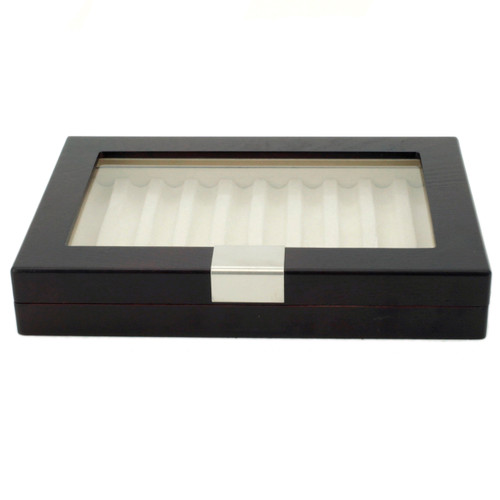 Pen Display Box Wood Finish Glass Window Engravable Plate - Ash Brown