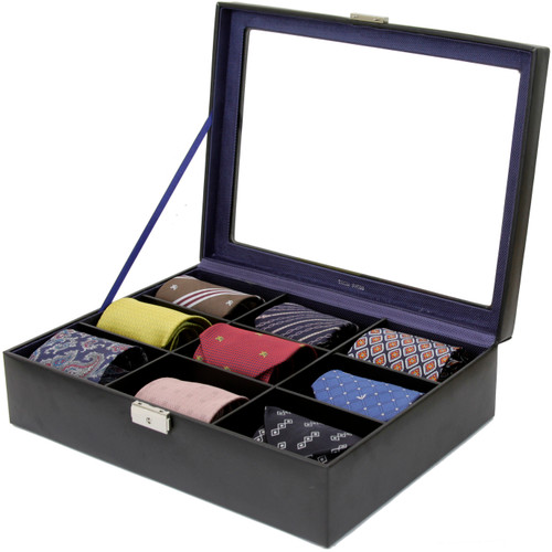 Tie Box Storage 9 Compartment Leather - Black