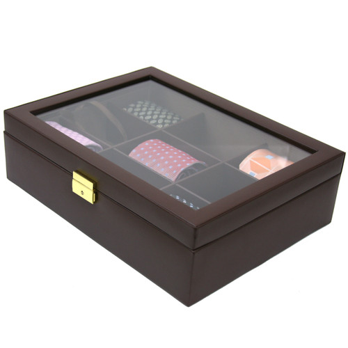 Tie Box Storage 9 Compartment Leather - Brown