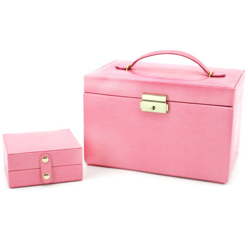 Jewelry Box Leather Pink Lizard Grain with Travel Case