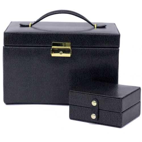 Jewelry Box Leather Black Lizard Grain with Travel Case