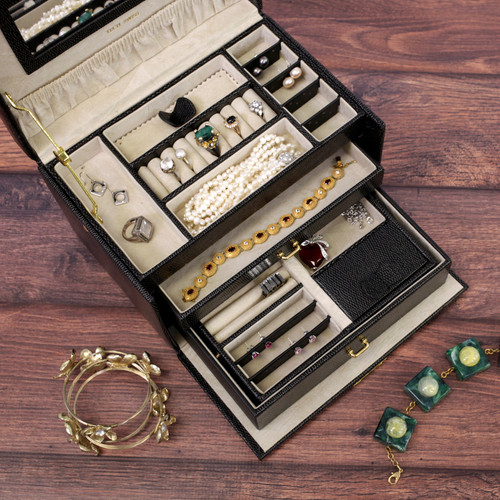 Black Lizard Grain Leather Jewelry Box from Tech Swiss | TS382BK | Main