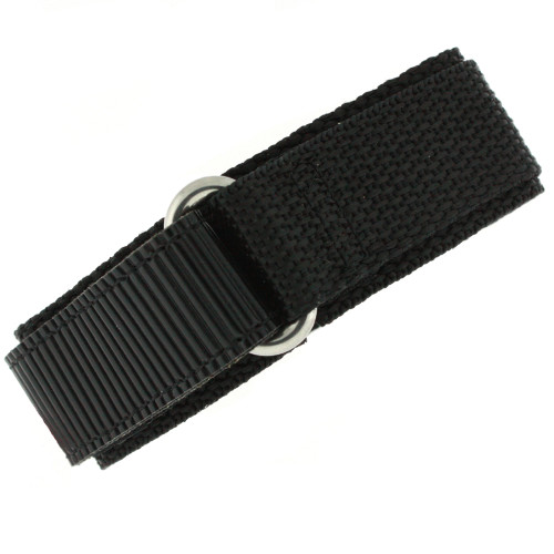 22mm Black Velcro Watch Band | 22mm Velcro Black Watch Strap | 22mm Sport Black Watch Band | Watch Material VEL100BLK-22mm | Loop