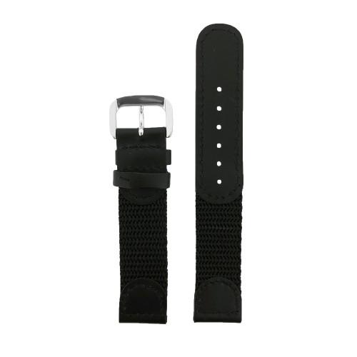 Fits Swiss Army Victorinox Black Nylon & Black Leather Straight Cut 18mm
