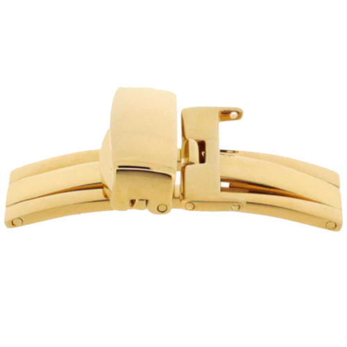 Deployment buckle 18k 3 micron gold plated for leather bands. Opens in the middle Sizes 10mm - 24mm | Second