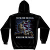 """**(OFFICIALLY-LICENSED,""""I STAND FOR THE FLAG & KNEEL FOR THE FALLEN""""/NICE-CUSTOM-GRAPHIC-PRINTED/PREMIUM-DOUBLE-SIDED-PATRIOTIC/WARM-FLEECE-PULLOVER-POCKET-HOODIES)**"""