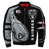 **(OFFICIALLY-LICENSED-N.F.L.OAKLAND-RAIDERS & OFFICIAL-RAIDERS-TEAM-COLORS & OFFICIAL-CLASSIC-RAIDERS-LOGOS-BOMBER/FLIGHT-JACKET & NICE-NEW-CUSTOM-3D-GRAPHIC-PRINTED-DOUBLE-SIDED-ALL-OVER-DESIGN/WARM-PREMIUM-N.F.L.RAIDERS-FLIGHT-JACKETS)**