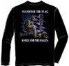 "**(NEW-OFFICIALLY-LICENSED,""I STAND FOR THE FLAG & KNEEL FOR THE FALLEN"",NICE-DETAILED-CUSTOM-GRAPHIC-PRINTED-PREMIUM-DOUBLE-SIDED-PATRIOT-LONG-SLEEVE-TEES:)**"