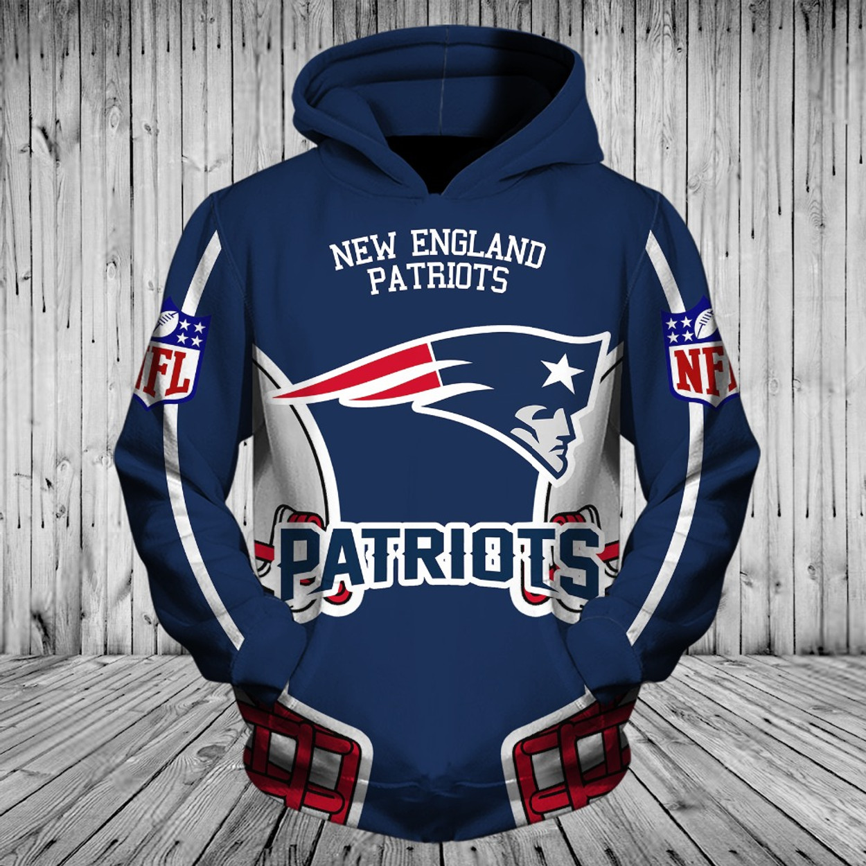 (OFFICIALLY-LICENSED-N.F.L.NEW-ENGLAND-PATRIOTS-POCKET-PULLOVER -HOODIES GRAPHIC-3D-PRINTED-IN-PATRIOTS-TEAM-COLORS  ... d31bcb792
