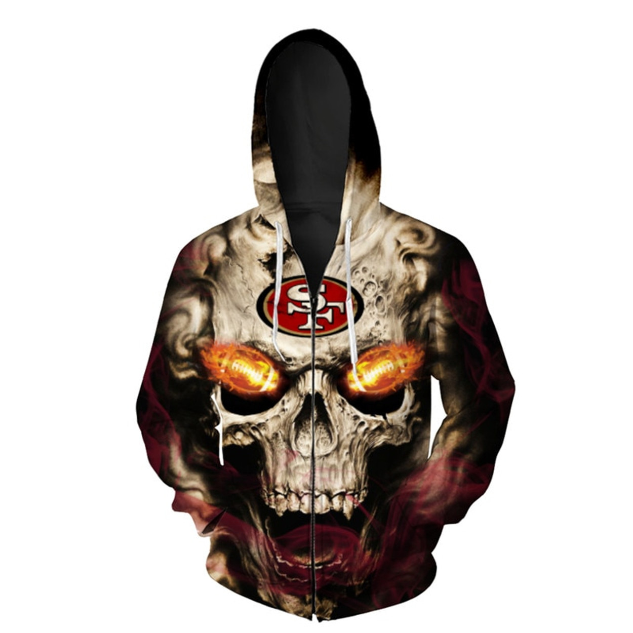 (OFFICIAL-N.F.L. SAN-FRANCISCO-49ERS-LOGO-ZIPPERED-HOODIES 3D-NEON-SKULL    SAN-FRANCISCO-49ERS-BLAZING-FOOTBALL ... 5a23d31be