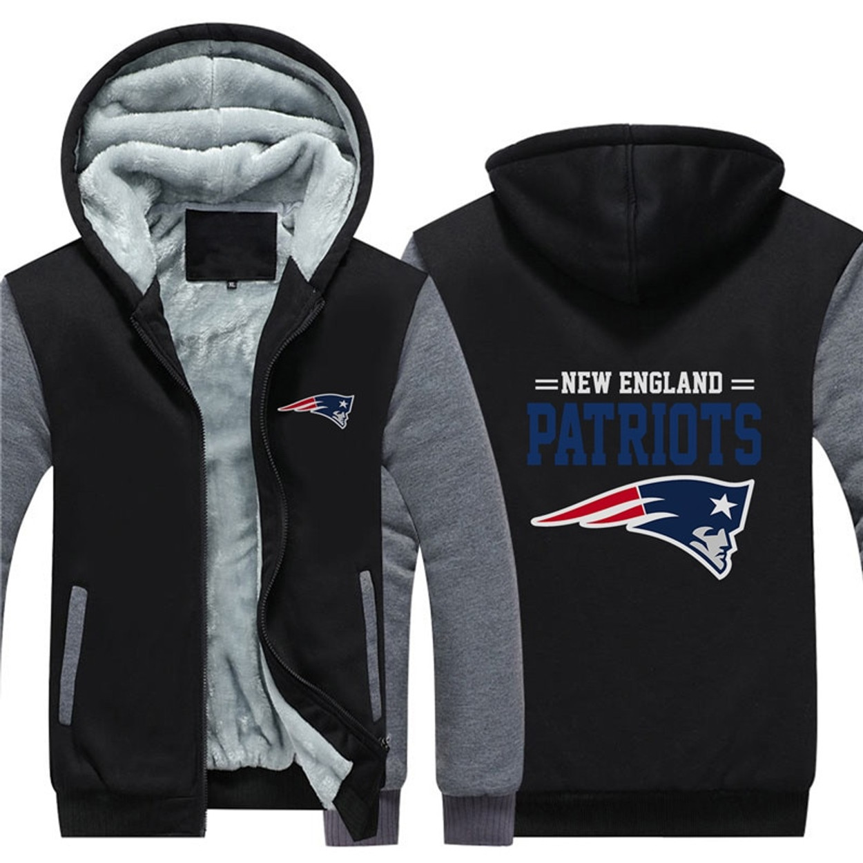(NEW-OFFICIALLY-LICENSED-N.F.L.NEW-ENGLAND-PATRIOTS TRENDY-TWO-TONE-BLACK    GREY-COLOR ... 0a392b591
