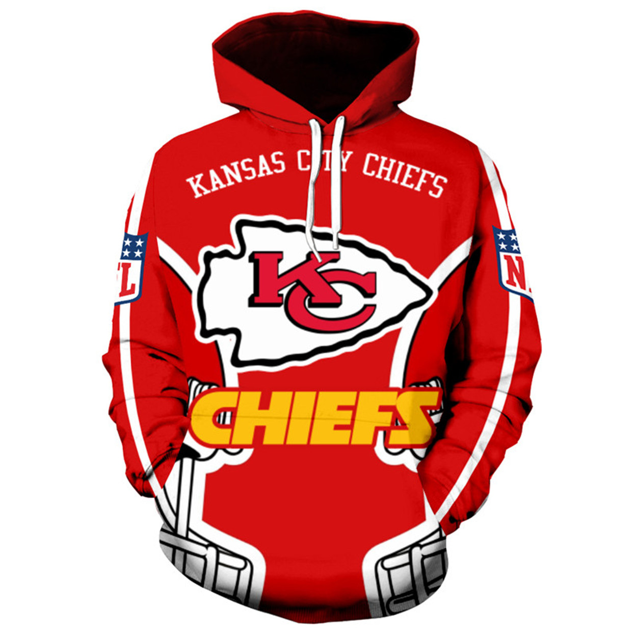 (OFFICIALLY-LICENSED-N.F.L.KANSAS-CITY-CHIEFS -PULLOVER-HOODIES ALL-OVER-3D-GRAPHIC-PRINTED-IN-CHIEFS-LOGOS ... 815c302ed
