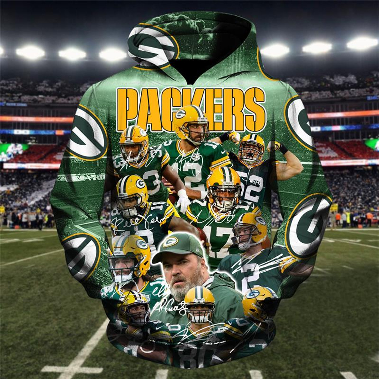 (OFFICIALLY-LICENSED-N.F.L.GREEN-BAY-PACKERS-TEAM-PULLOVER-HOODIES NICE- CUSTOM-3D-GRAPHIC-PRINTED-DOUBLE-SIDED-ALL-OVER-DESIGN ... a7fd075ff