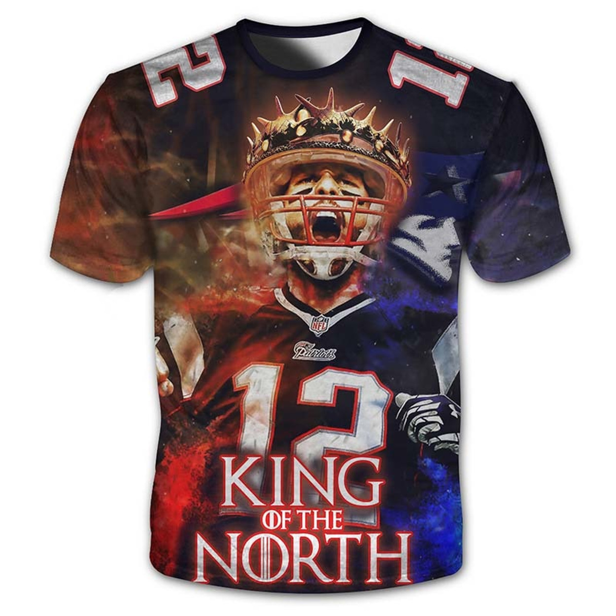 fa37f7074   (OFFICIAL-N.F.L.NEW-ENGLAND-PATRIOTS-KING-OF-THE-NORTH    TOM-BRADY-NO.12-SHORT-SLEEVE-TEE-SHIRT CUSTOM-3D-GRAPHIC-PRINTED-DOUBLE- SIDED-ALL-OVER-GRAPHICS ...