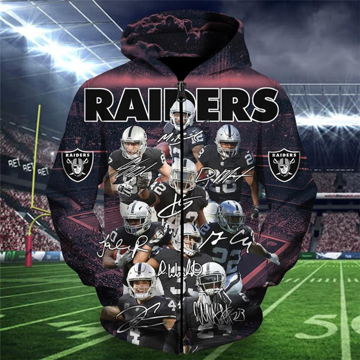 71bb6f71f29   (OFFICIAL-N.F.L.OAKLAND-RAIDERS -ALL-STAR-TEAM-FRONT-ZIPPERED-HOODIES CUSTOM-3D-RAIDERS-NEON-BLACK-GROUP-TEAM-DESIGN  ...