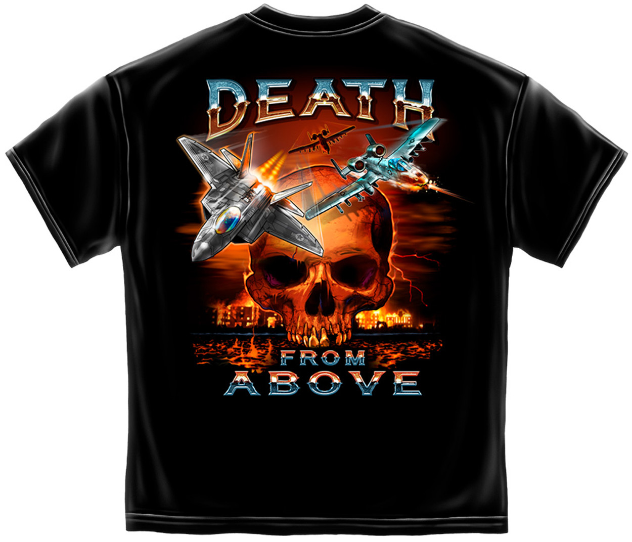 da3217a4 **(OFFICIALLY-LICENSED-U.S.AIR-FORCE &  DEATH-FROM-ABOVE/FIRE-SKULL,NICE-DETAILED-CUSTOM-GRAPHIC -PRINTED/PREMIUM-DOUBLE-SIDED-MILITARY-VETERAN-TEES)**