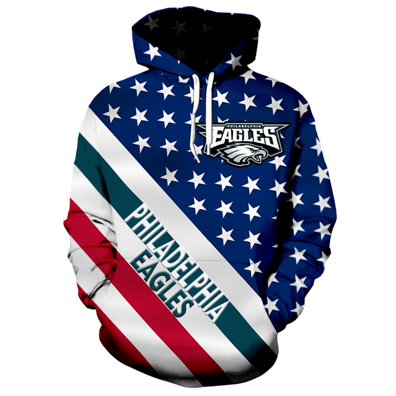 huge selection of d2876 59482 **(OFFICIALLY-LICENSED-N.F.L.PHILADELPHIA-EAGLES/3D-GRAPHIC-PRINTED-PATRIOTIC-STARS  & STRIPES-PULLOVER-HOODIES/NICE-DETAILED-PREMIUM-CUSTOM-3D-GRAPHIC...